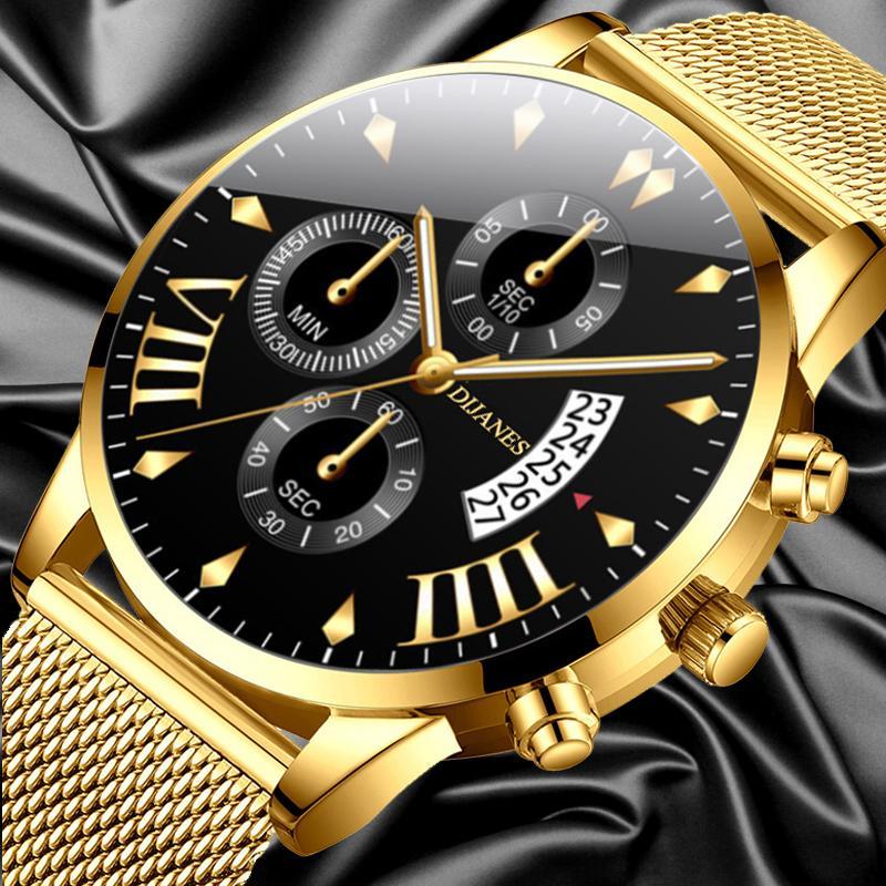 Classic uomini d'affari vigilanza di modo di lusso orologi in acciaio inox maglia calendario Data oro quarzo relogio feminino