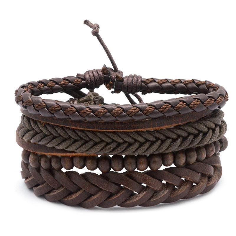 Adjustable Männer Brown Weinlese-mehrschichtiges Leder mit Perlen-Armband-Armband Mode-Accessoire