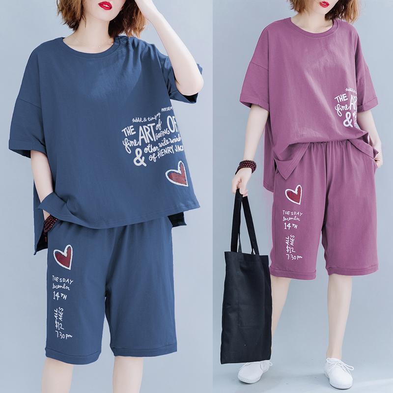 Femmes d'été au Japon Fashion Style Graffiti Imprimé ronde manches courtes T-shirt col court demi-longueur de surdimensionnées Ensembles Casual