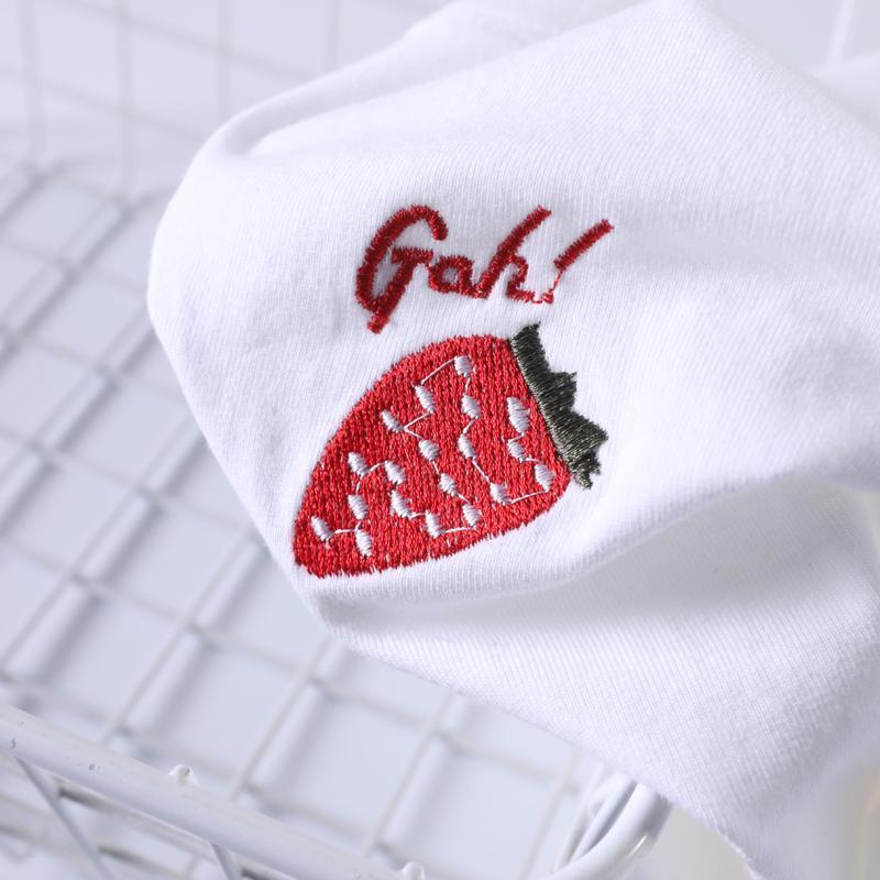 20200721 cotone ricamato fragola usura rete T-shirt rossa ins estate delle donne
