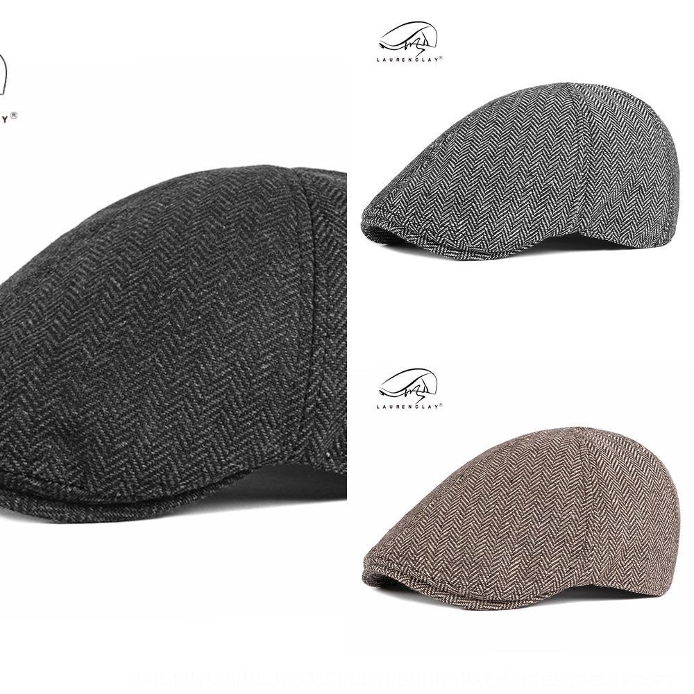 jesKW style britannique Béret de printemps automne et l'hiver des hommes nouveau chapeau octogonal béret de mode de style coréen littéraire six pièces rayé h octogonale