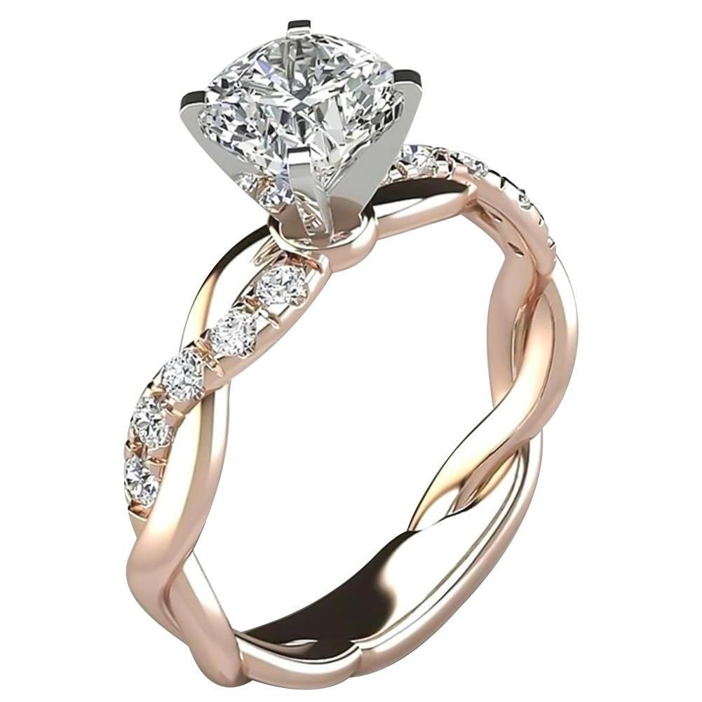 새로운 925 스털링 실버 여성의 투톤 트위스트 다이아몬드 반지 웨딩 약혼 지르콘 반지 발렌타인 데이 선물