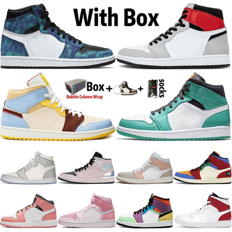 2020 Nike Air Max Retro Jordan Jumpman Haute OG 1 1s Lumière Smoke Gre UNC Mens Basketball Shoes Designer Tie-Dye plage Obsidian Sports Sud Baskets Sneakers 5,5 à 12