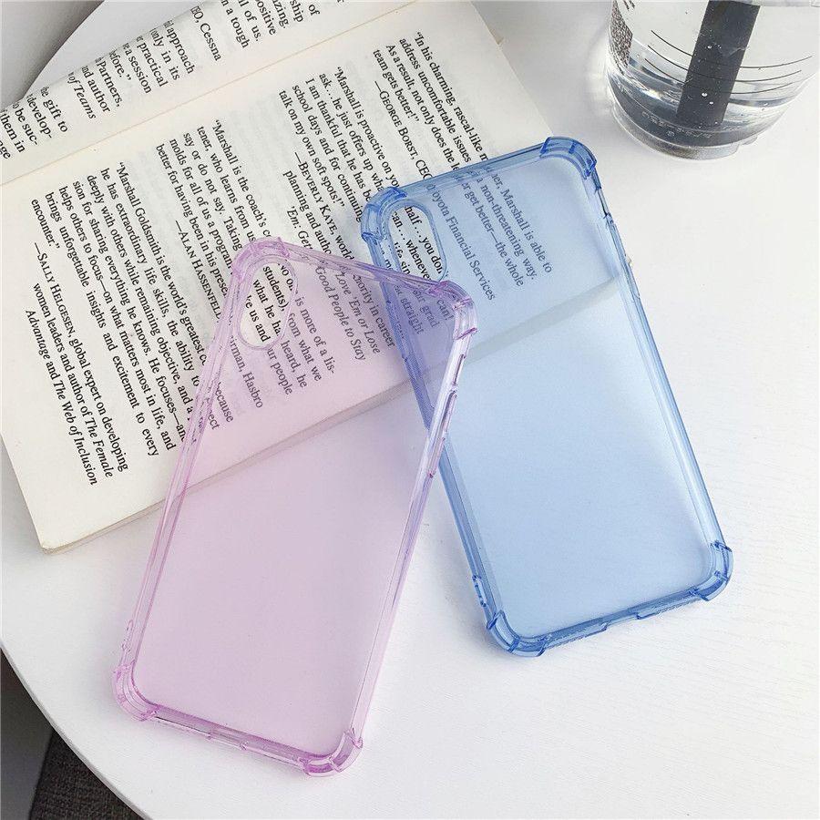 Мода Четыре угла подушка падения телефон дела для iPhone 11 про максимум 6 6S 7 8 Plus телефон Обложка для iPhone X XR XS MAX Gradient Color Case