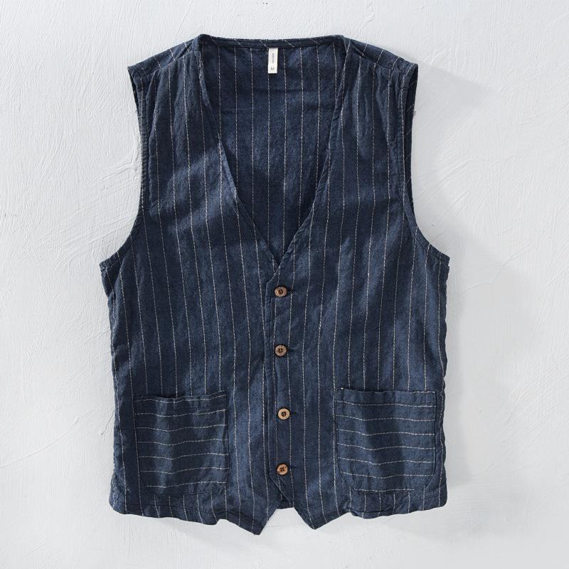 Mans Vintage Linen Costume Gilet Matériel Slim 55% lin + 45% coton Gilet Casual Male rayé mince Waistcoat Taille asiatique M-3XL