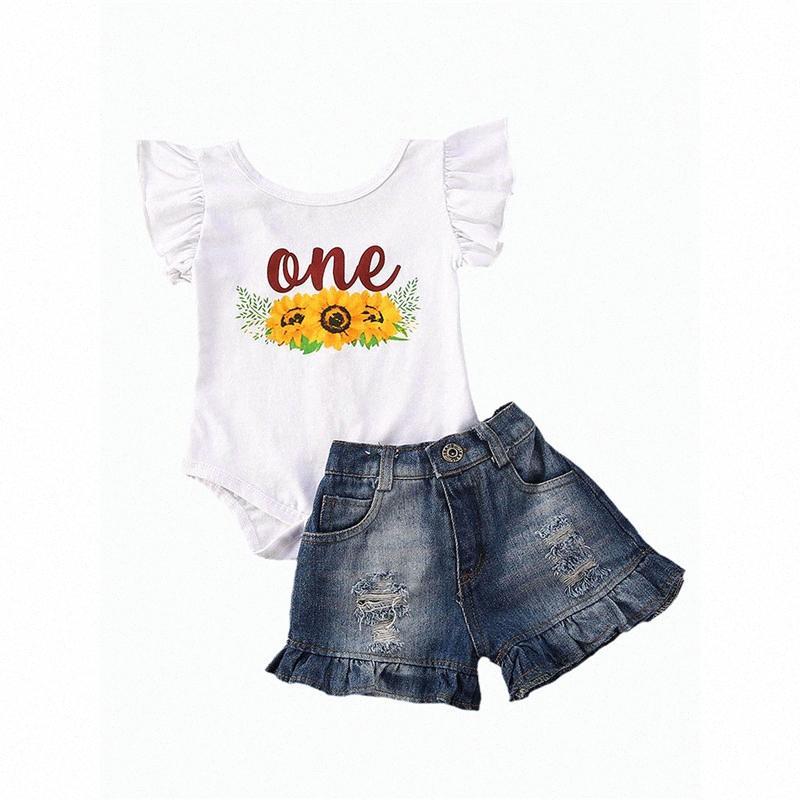 Summer Infant ребёнки Одежда наборы Подсолнухи Печать оборками рукава Romper + шорты 6-24M 1Jan #