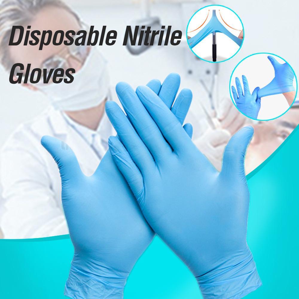 Свободная Аллергия 100шт / серия нитриловые перчатки Food Grade Водонепроницаемые перчатки Одноразовая работа безопасности нитриловые перчатки Механик
