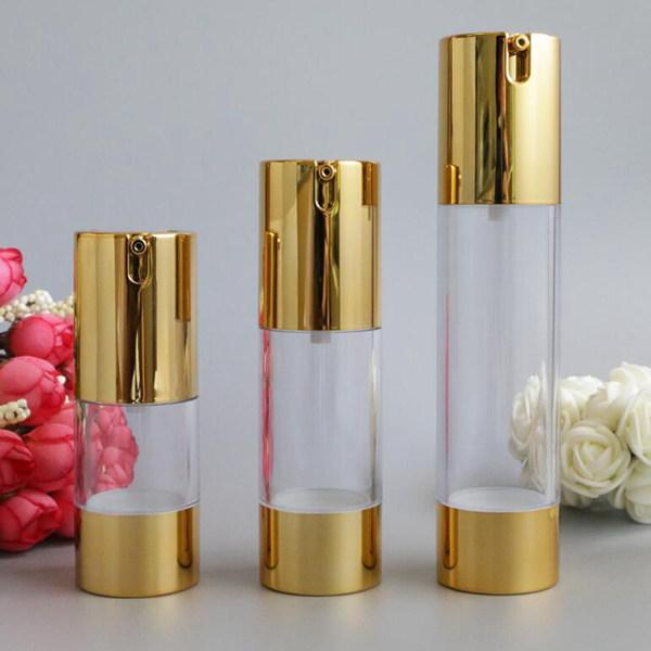 New Gold Косметические безвоздушного лосьон бутылки Essence Сыворотка бутылки Упаковка насоса 15 мл 30 мл 50 мл Empty Косметика Контейнеры 100шт
