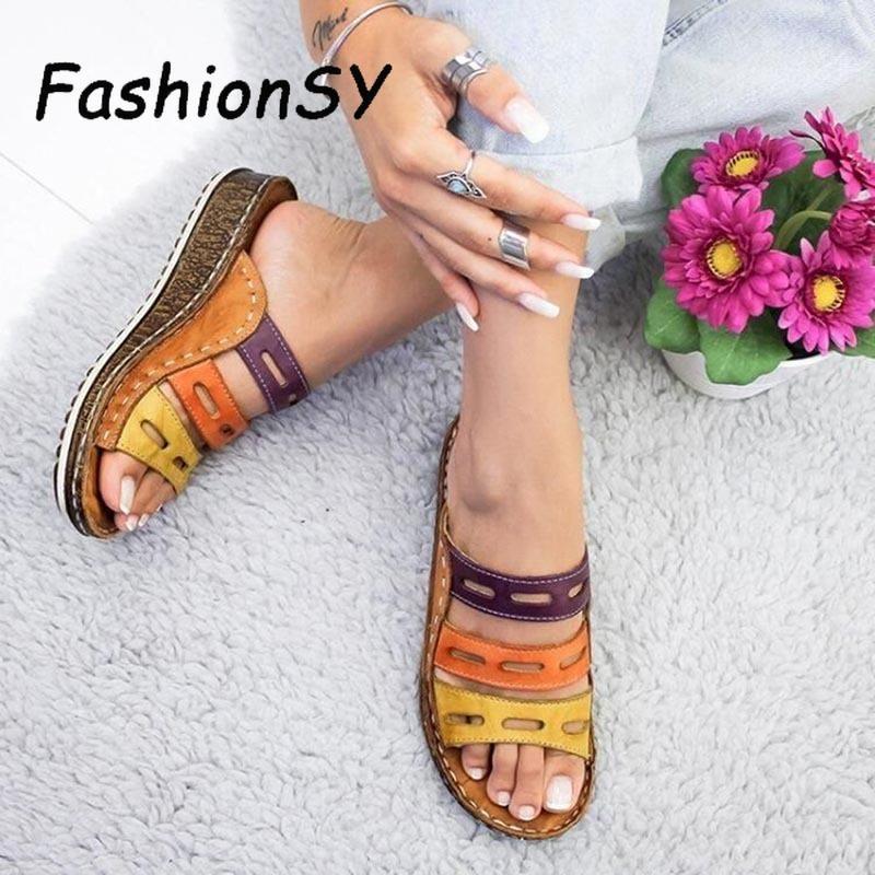 Cunha do calcanhar Mulheres Chinelos Mulheres Verão sapatos retro costura Baixo Praia Abrir Peep Toe Sandals 3 cores Calçados slides sapatas da mulher Y200624