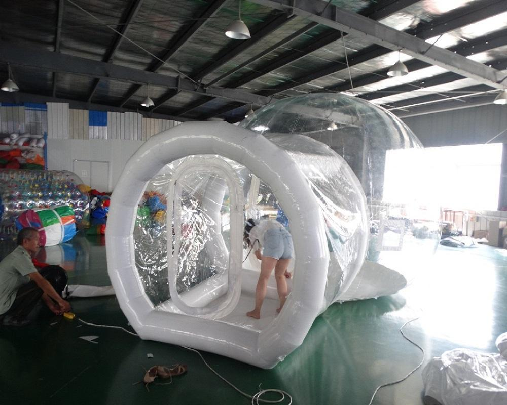 Outdoor Transparent inflatable Tent clear bubble House Single Tunnel Inflatable Bubble Tent