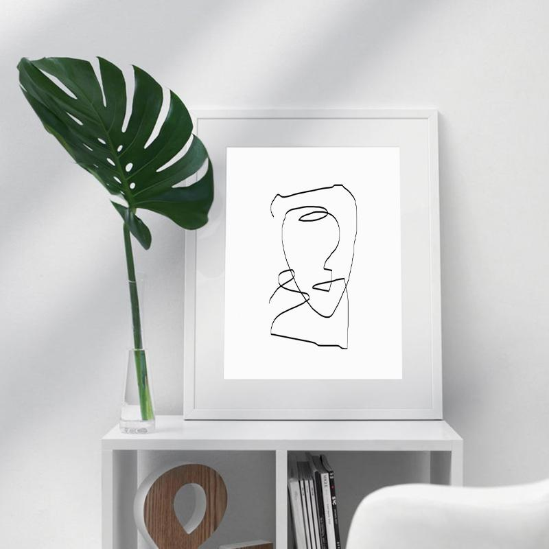 Modern Wall Art One Line Drawing Painting Prints Continuous Line Sketch Black and White Abstract Art Poster Home Wall Decor