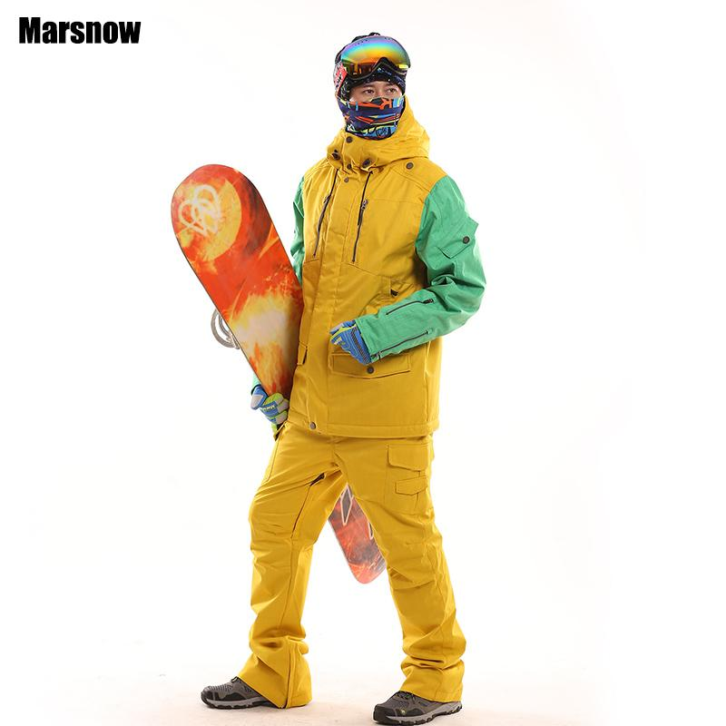 L'arrivée de nouveaux s'épaissir veste snowboard set hommes alpinisme ski chaud coupe-vent imperméable d'hiver et costume pantalon de ski