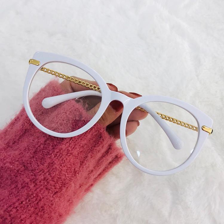 2020 تصميم الأزياء الجديدة CH4568 المرأة تصميم سلسلة ارتداء النظارات المستديرة Cateye إطار وصفة طبية نظارات حزمة كاملة مربع UV400