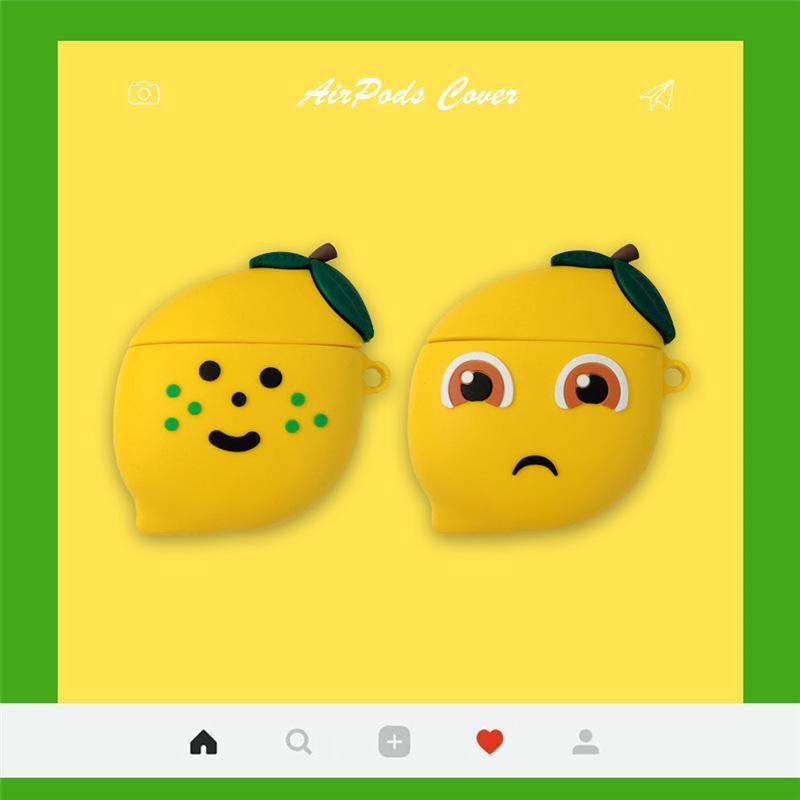 Cajas para auriculares 3D para Airpods Caso Lindo dibujos animados amargo limón para Apple AirPods 1 2 Funda protectora para Earpods Earbudos Caso Hook
