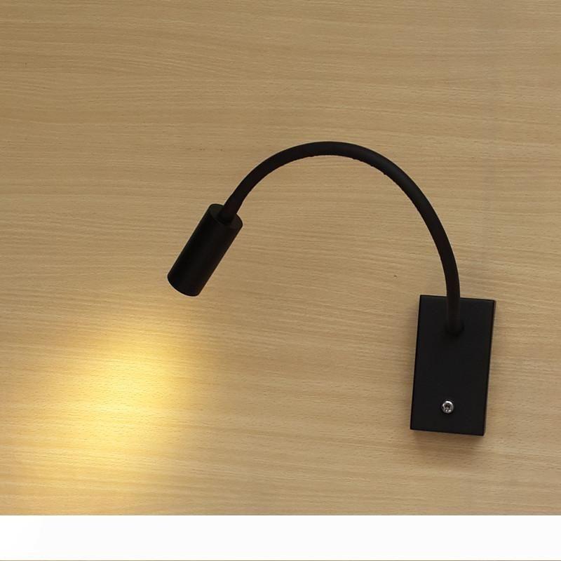 Topoch 침대 옆 벽의 전원을 끄고 유연한 알루미늄 파이프 360mm 매트 블랙 크리 LED 3W 200LM 부드럽고 건강한 빛 플레어에 램프