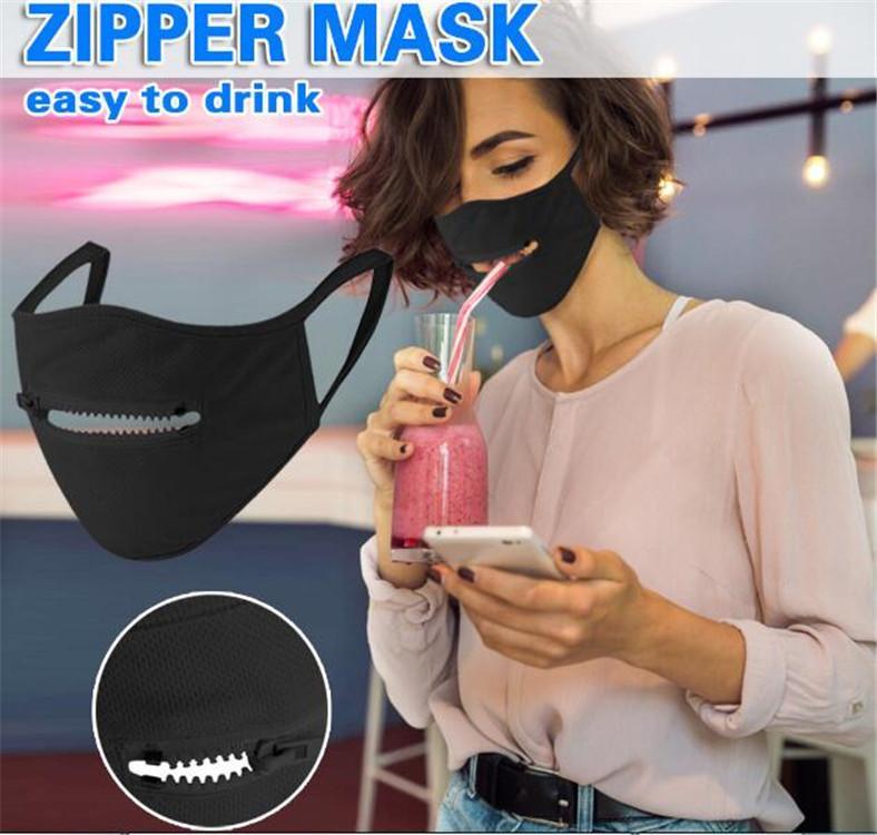 2020 neue kreative Zipper Face Mask Reißverschluss-Entwurf leicht Gesichtsmasken Waschbar Wiederverwendbare Covering Schutz trinken durch DHL