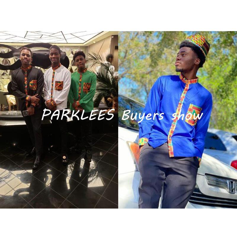 Bolsillo Africaine remiendo africana dashiki camisa de la impresión de los hombres de manga larga Diseño Ankara Collar de estilo de vestir de hombre camisas CX200801