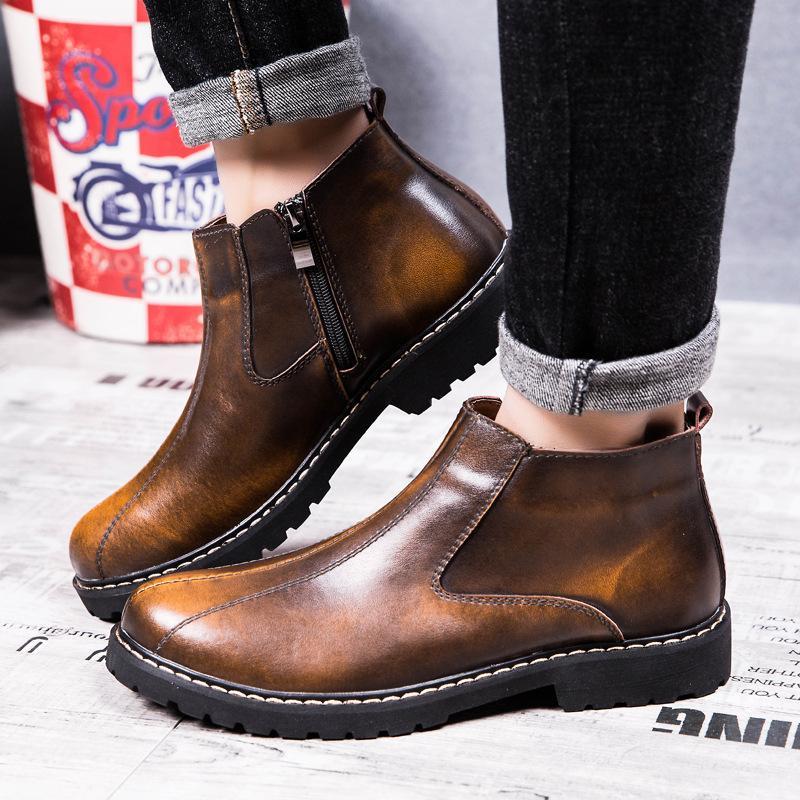 2020 Новый Мужчины Зимняя обувь Мужская обувь Кожаные Сапоги ретро Круглый Toe кожа сапоги Мода Короткие