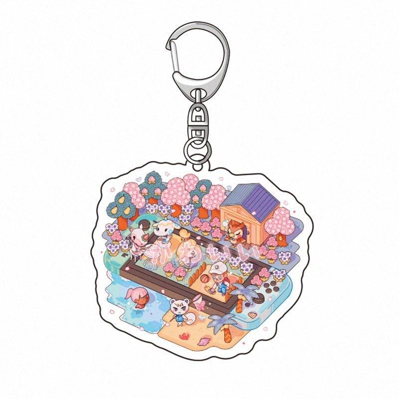 Jogo Animal Crossing: Cartoon New Horizons Tom Nook Isabelle Keychain Cosplay Acrílico Pingente stand presentes Figura Key Anel Xmas muuq #