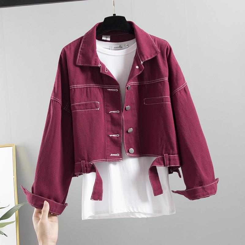 Mode femme Jeans Veste Printemps Automne Nouveau Denim Femme Jaune Veste Manteau grande taille en vrac court à manches longues Jeans Outwear Femal
