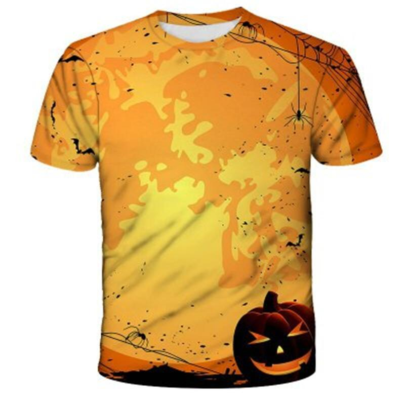 Hombre Camisetas de Halloween tendencia de la moda 3D modelo abstracto de cuello redondo camiseta de manga corta del verano del diseñador de patrón masculino calabaza tapas ocasionales camiseta