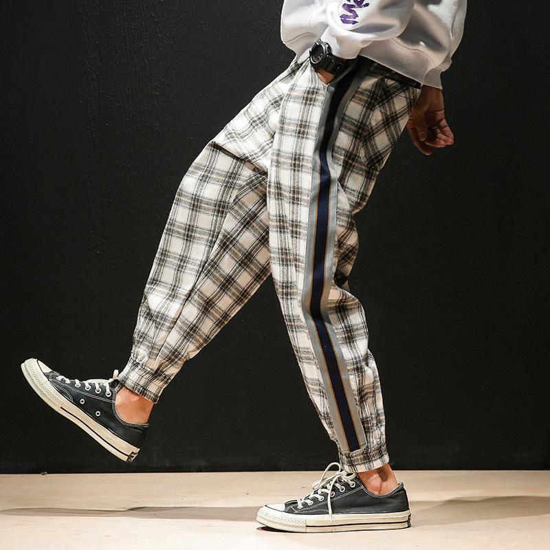 Erkek Pantolon Harem Erkekler Rahat Baggy Artı Boyutu Ekose Pantolon Japon Streetwear Gri Öğrenciler Gevşek Dipleri Hip Hop Ayak Bileği Uzunluk