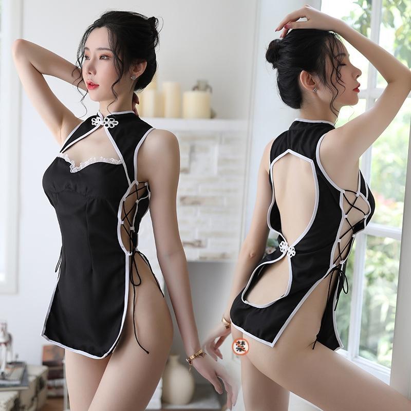 IAMBp Pinxian sexy sous-vêtements cheongsam sexy sous fourche creuse hors du côté uniforme des femmes tentation de sangle cheongsam costume transparent