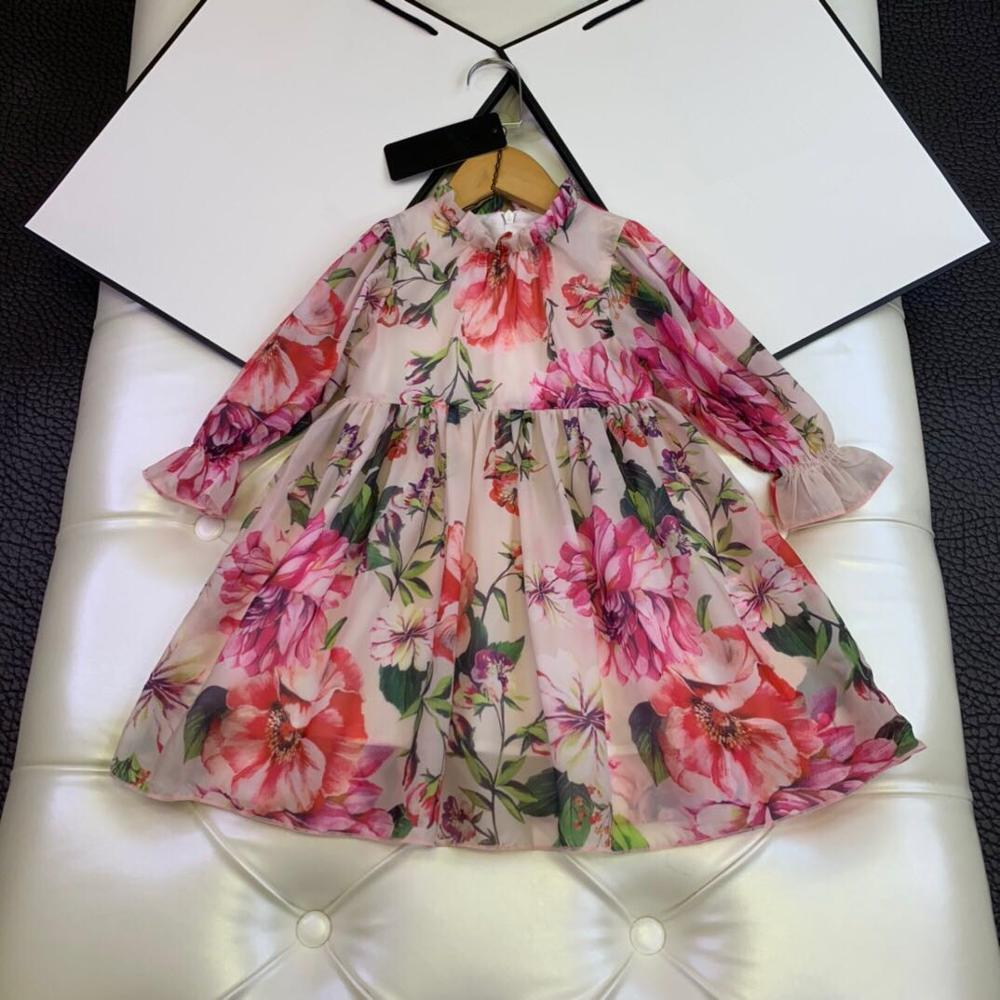 New High Quality Girls vestidos 3D Floral Rose Birthday Party Cosplay Blue Dress Kid Costume Girls Flower Princess Chiffon Dress T200709