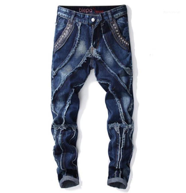 Lange Lässige Kleidung Mens-Sommer-Jeans Gießen Hommes Licht Plissee Herren Designer Jeans aus gewaschenem