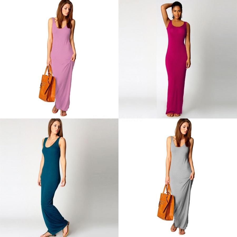 Nouvelle arrivée femmes Summer Beach Sling Robe ample sans manches Casual O-cou lâche robe longue fendue # 288