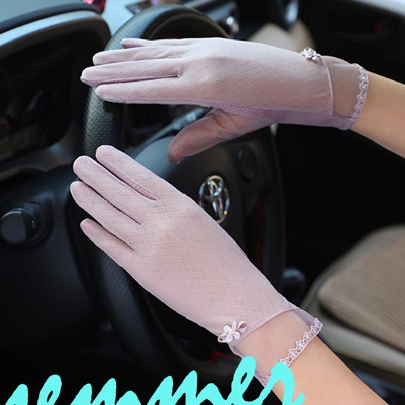 Tocco elastico donne Moda schermo Mittens Guanto Lady traspirante guanto antiscivolo Finger Gloves completa protezione solare