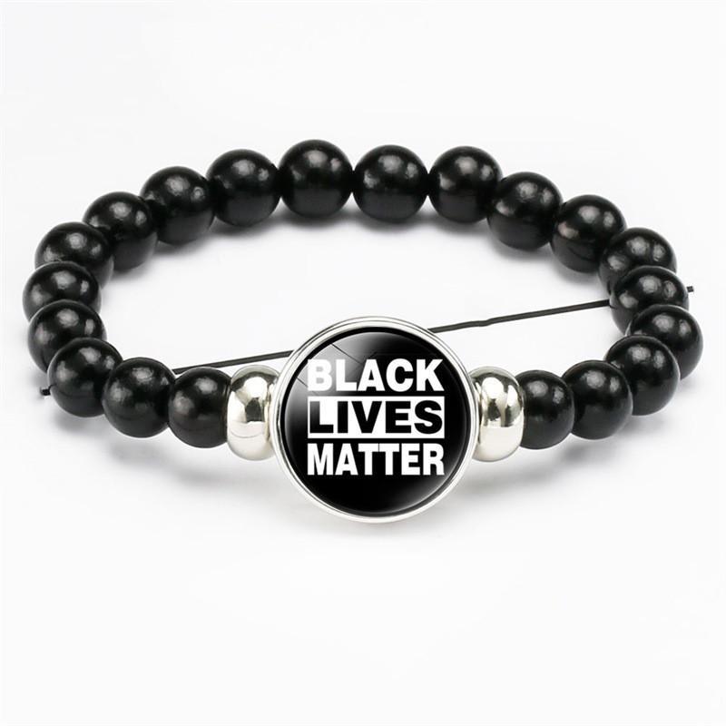 """""""Black Lives importateurs"""" Les bracelets Je ne peux pas respirer les bracelets 8mm Noir Beads Beads Bouton Snap Bouton Snap pour Femmes Hommes Bijoux"""
