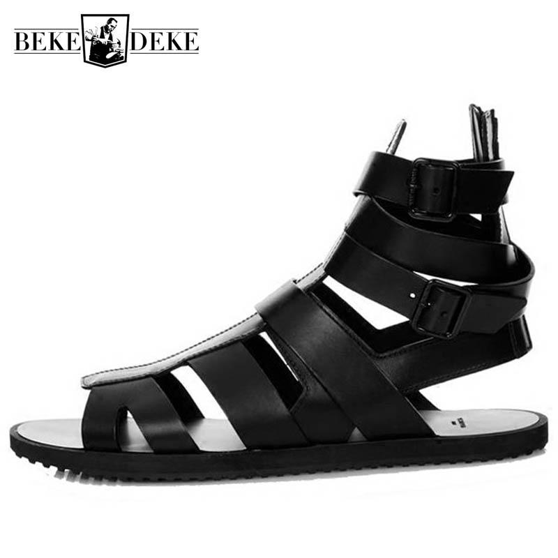 Preto Sandals Men 2,020 Verão Buckle Sandálias Botas Couro Gladiator High Top Praia Sandalia Slides Plus Size 45
