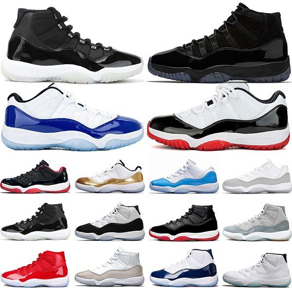 Jumpman 11 11s Chaussures 25e anniversaire de basket-ball Bred Concord 45 chapeau et robe argent métallisé Hommes Formateurs sport Chaussures de sport Vente en ligne