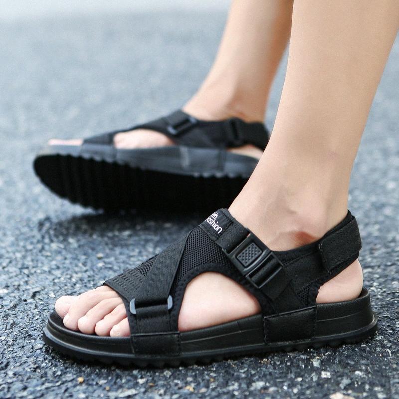 Высокого качество Сандалия Мужской обувь 2020 Гладиатор мужских сандалий моды для мужчин обуви Летних Вьетнамок Flat Большого размер 37 46 Ню обуви высокого Hee 8JWx #