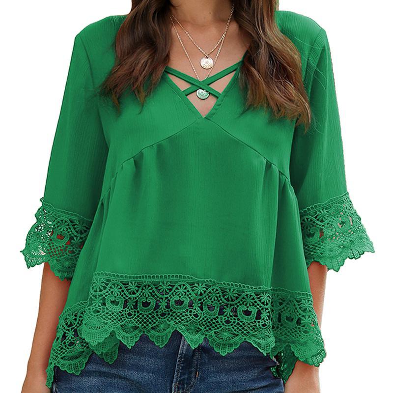 여성 블라우스 쉬폰 플러스 크기 새로운 아메리칸 중공 레이스 절반이 유럽 여성 패션 쉬폰 셔츠 4 개 크기 hotsale 8 색 슬리브