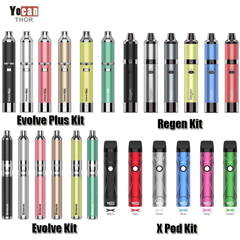 Authentic Yocan Evolve-D Evolve Plus Regen Armor X Pod Starter Kit Wax Dry Herb Vape Pen Vaporizer Battery QDC QTC Atomizer Original