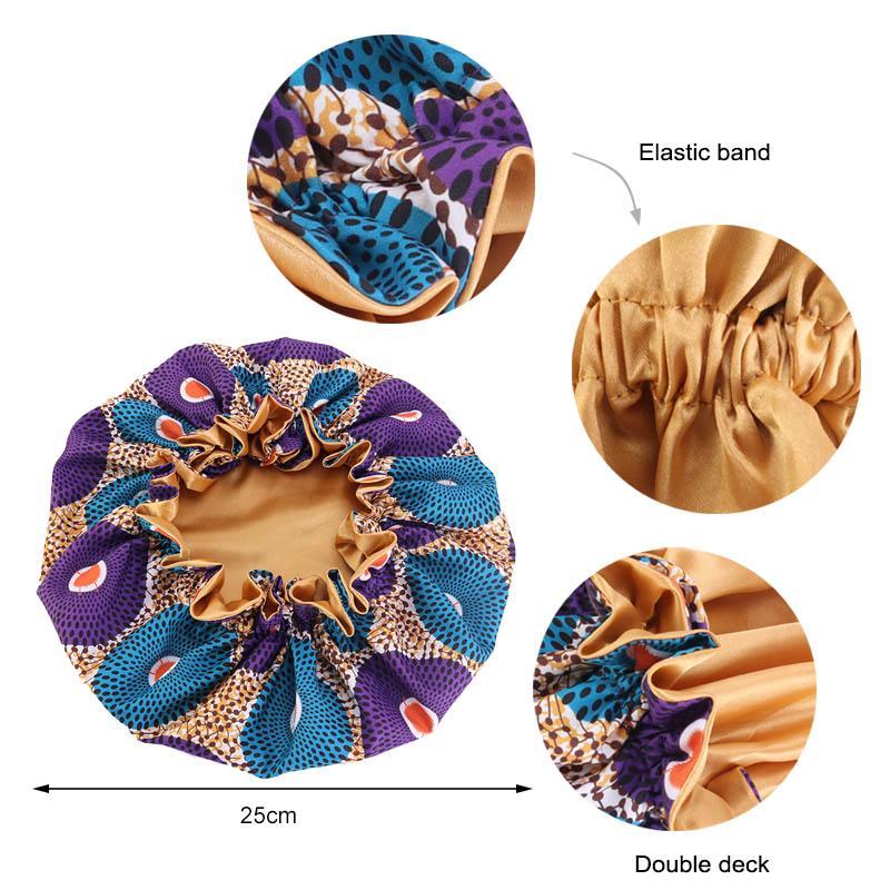 Сатин Bonnet Для детей двухслойный Шелковый Подкладка Ночной сон Cap Африканский шаблон Flroal печати Bonnet Kids Мягкая обложка волос Hat
