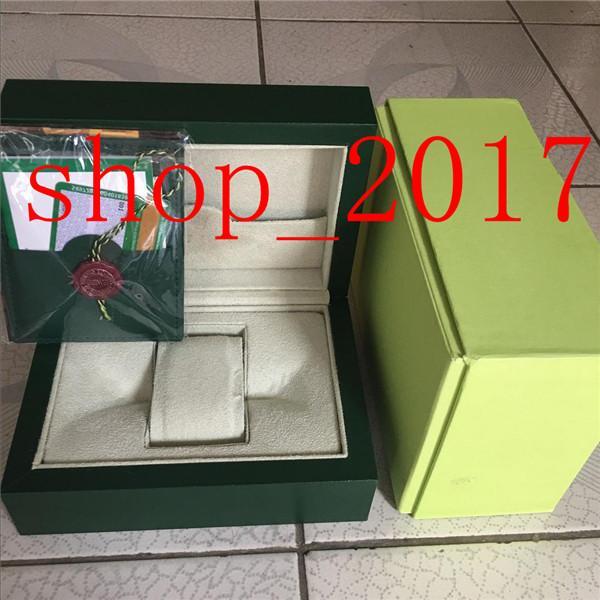 AA Meilleure qualité Vert foncé Coffret cadeau coque pour carte Livret Tags et articles en anglais de montres suisses Rolex Montres Boîtes