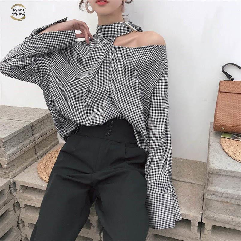 Women Plaid Shirts 2019 Korean Vintage Fashion Halter Patchwork Blouse Long Sleeve Casual Loose Female Blusas
