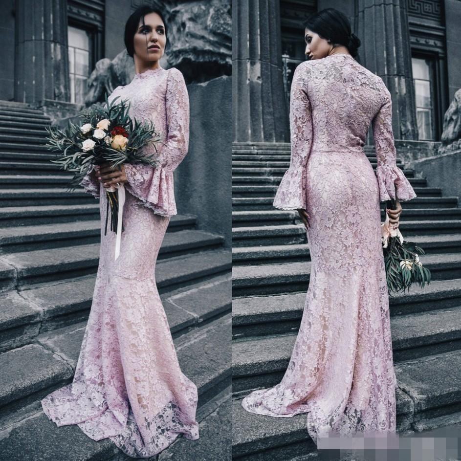 Abiti da damigella damigella d'onore in pizzo nero rosa 2020 smeroped collo alto lungo juliet manicotti sirena damigella della cameriera di onore abito da sposa abito da sera formale