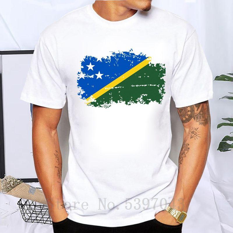 Solomon Adaları Bayrağı Tişörtlü Erkekler Moda% 100 Pamuk Markalar Tişörtler Solomon Adaları Ulusal Bayrak Hayranları Tee Kısa Kol