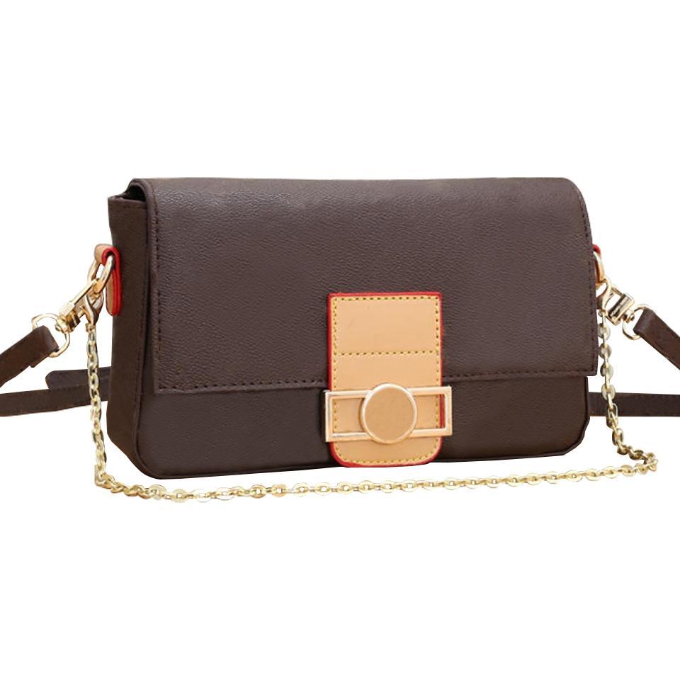 Top Qualität Mode Frauen Handtaschen Geldbörsen Braune alte Blume große Brieftaschen Goldkette Crossbody Bag Umhängetaschen Geldbörse Messenger Bags M44990