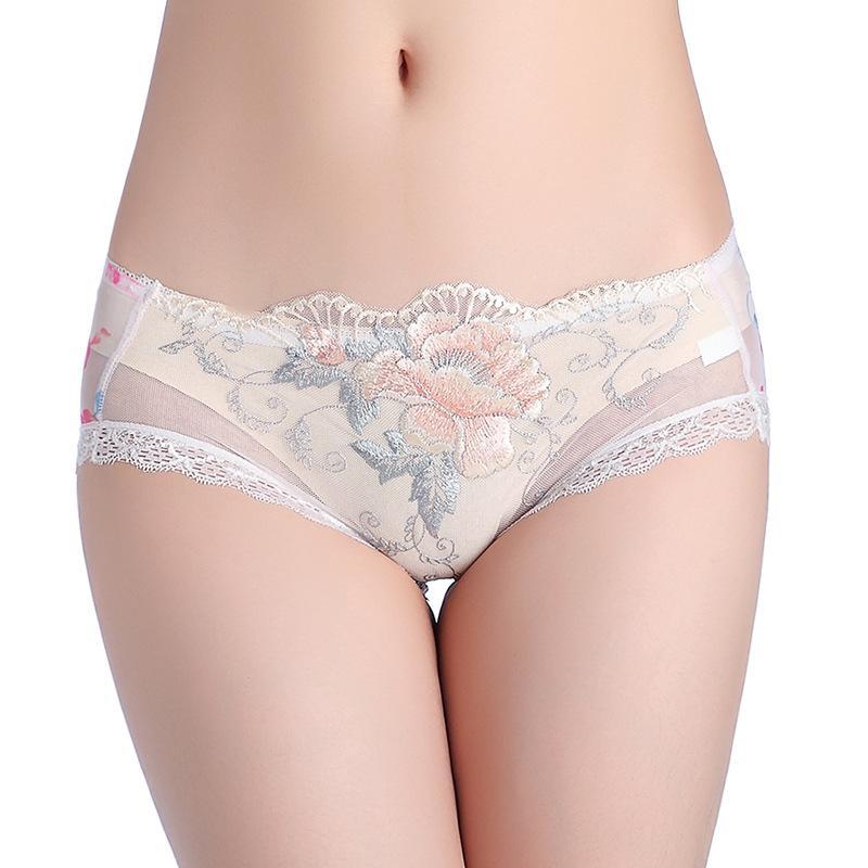 Sexy Fleur Rose Slip broderie dentelle taille basse voir par la femme pantalons Sous-vêtements Culottes Mode Vêtements femme