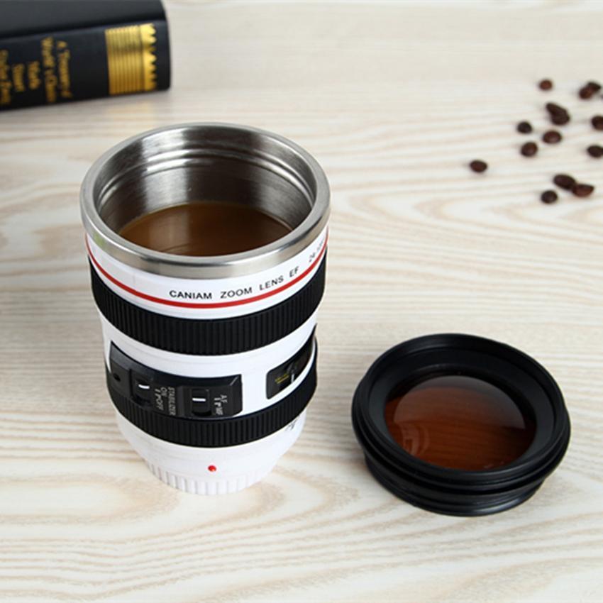 Kapaklar ZZA2452 ile Kamera Lens Kahve Kupa Yaratıcı 6 Nesil 400ml Paslanmaz Çelik Tumbler Seyahat Kamp Kahve Bardaklar