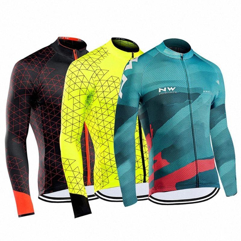 Nuovo Autunno Spring Road Cycling Jersey 2019 Mans maniche lunghe montagna Bicicletta da corsa Abbigliamento Maillot Ropa Ciclismo Hombre Wear DSZT #