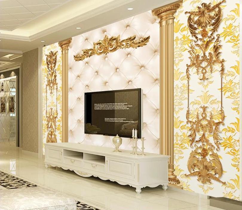 Papeles de pared Pared 3D de oro de lujo modelo europeo etiqueta de la pared de la sala Dormitorio Decoración 3D