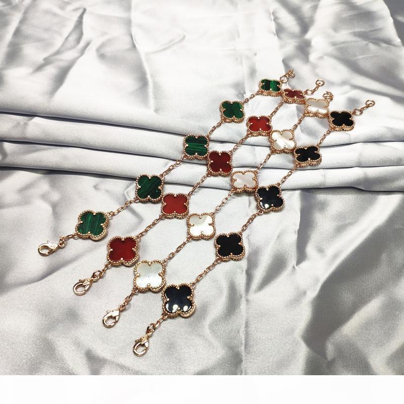 Fortunato di fascino del fiore braccialetto femminile S925 Sterling Silver Rose Gold catena Four Leaf Clover pietra preziosa Wristband gioielli e accessori