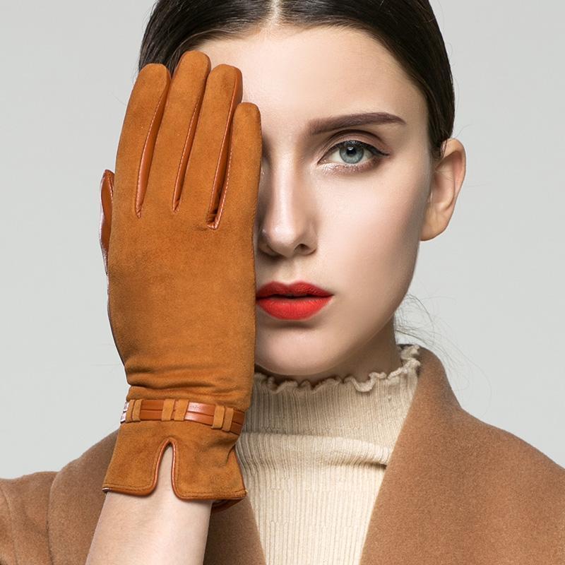 Guanti pelle di capra Guanti in vera pelle femminile più velluto tenere in caldo scamosciata opaca pelle della donna per la guida K96