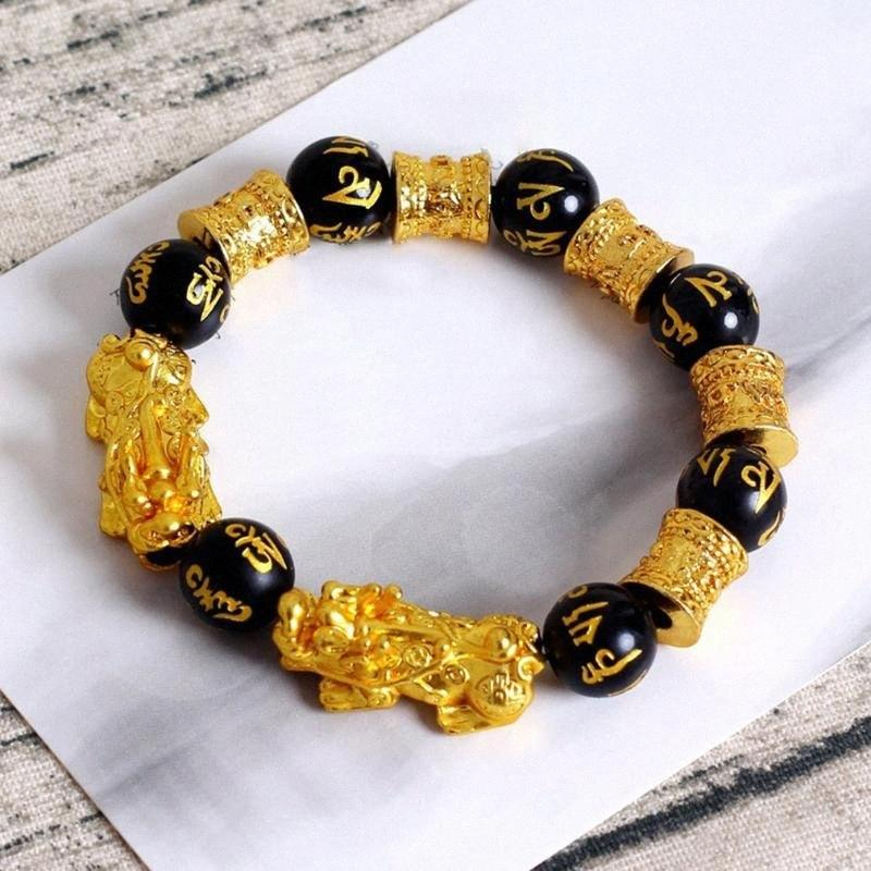 Модные природный камень черный обсидиан Pixiu Браслет Pixiu Лаки Храбрый Войска Подвески ювелирные изделия для женщин Мужчины B12F #